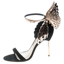 Sophia Webster Black Suede and Laser Cut Rose Gold Leather Evangeline Open Toe Sandals Size 35 198047