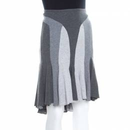 Alexander McQueen Grey Colorblock Paneled Jersey Flared Godet Skirt M
