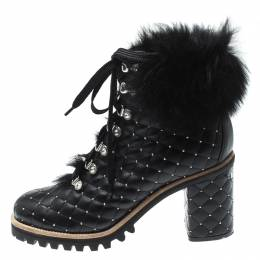 Le Silla St.Moritz Black Quilted Leather Fur Lined Block Heel Trekking Boots Size 40