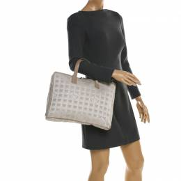 Chanel Beige Jacquard Travel Ligne Laptop Bag 198080
