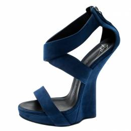 Giuseppe Zanotti Design Electric Blue Suede Cross Strap Heelless Platform Sandals Size 40.5 198059