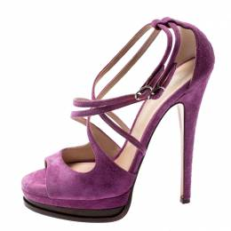 Casadei Purple Suede Cross Strap Platform Sandals Size 37.5 198109