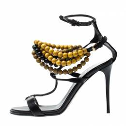 Burberry Prorsum Black T Strap Beaded Sandals Size 37 197783