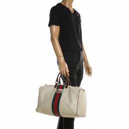 Gucci Light Beige GG Supreme Coated Canvas Web Duffle Bag 197852