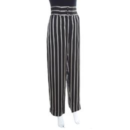 Etro Monochrome Striped Twill Elasticized Waist Wide Leg Pants M 197823