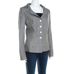 Escada Grey Linen and Wool Pleat Detail Tailored Blazer L 200150