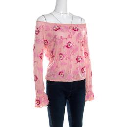 Escada Pink Tulle Overlay Floral Embellished Off Shoulder Blouse L 201401