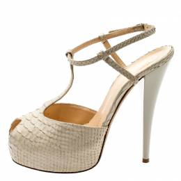 Giuseppe Zanotti Design Beige Python Embossed Leather T Strap Platform Sandals Size 39 201400