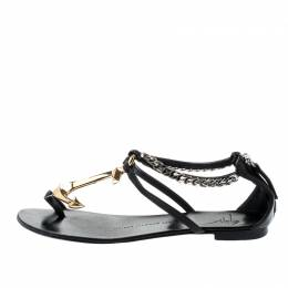 Giuseppe Zanotti Design Black Leather Gold Anchor Strap Flat Sandals Size 37 201405