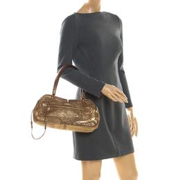 Miu Miu Gold Metallic Distressed Leather Shoulder Bag 201210