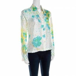 Escada Cream Floral Print Silk Twill Button Front Shirt M 201378
