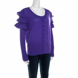 Escada Purple Mohair Wool Ruffle Tiered Detail Button Front Cardigan L 201371