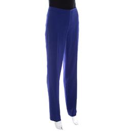 Escada Bluebell Blue Crepe High Waist Tovah Trousers M 201226
