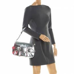 Fendi Silver Patent Leather B Bis Shoulder Bag 201293