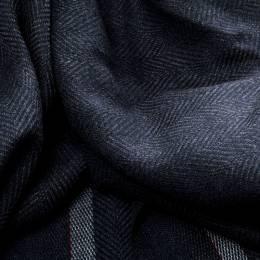 Ermenegildo Zegna Blue and Grey Herringbone Pattern Silk Fringed Edge Scarf 145463