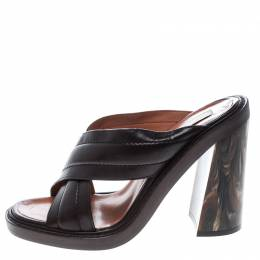 Stella McCartney Brown Quilted Faux Leather Veneer Criss Cross Block Heel Mules Size 39 144909