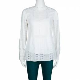 Oscar De La Renta White Broderie Anglaise Long Sleeve Blouse M 133712