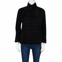 Giorgio Armani Black Striped Velvet High Neck Long Sleeve Blouse S 132471