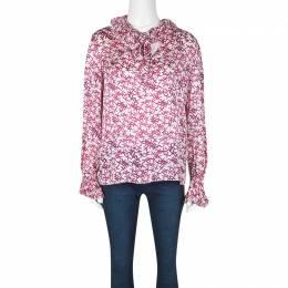Ch Carolina Herrera White and Pink Printed Silk Long Sleeve Blouse M 129901