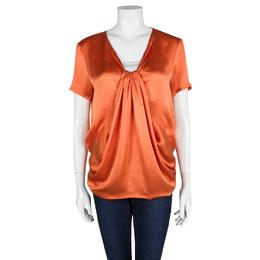 Yves Saint Laurent Orange Silk Draped Front Short Sleeve Blouse M 103628