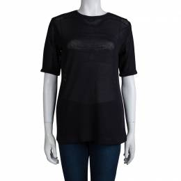 Dries Van Noten Navy Blue Perforated Knit T-Shirt M 79689