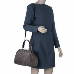 Fendi Grey Suede Medium Peekaboo Top Handle Bag 9370