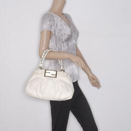 Fendi Beige and White Zucca Fabric Mia Shoulder Bag 37492