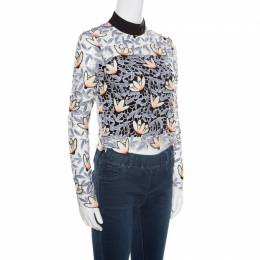 Self-Portrait Dove Grey Floral Embroidered Cutout Guipure Lace Cropped Peony Blouse S 166492