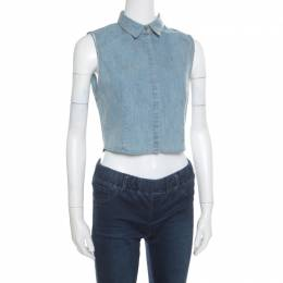 Alice + Olivia Indigo Faded Effect Denim Sleeveless Lea Cropped Blouse S 168267