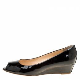 Giuseppe Zanotti Design Black Patent Leather Wedge Heel Peep Toe Pumps Size 38. 170275