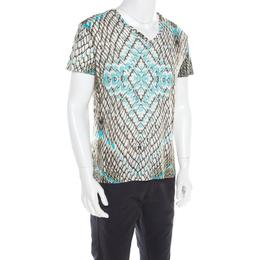 Just Cavalli Multicolor Snakeskin Print Cotton Blend V Neck T- Shirt XXL 182057