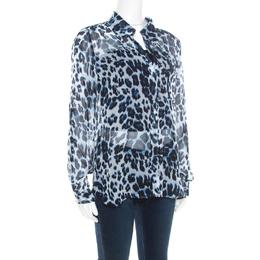 Diane Von Furstenberg Multicolor Snow Cheetah Printed Silk Lorelei Blouse M 185599