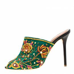 Malone Souliers Green Floral Embroidered Satin Peep Toe Mules Size 40 196058