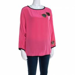Marc Jacobs Pink Silk Contrast Heart Applique Dolman Sleeve Blouse L 197378