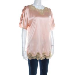 Dolce&Gabbana Peach Satin Silk Lace Trimmed Kimono Sleeve Blouse S 198270