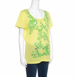 Balenciaga Yellow and Green Floral Cutout Printed T-Shirt M 155529