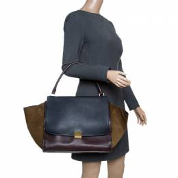 Celine Tri Color Leather and Suede Large Trapeze Bag 143896