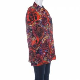 Matthew Williamson Red Precious Rose and Jewel Print Long Sleeve Blouse L 142202