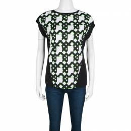 Peter Pilotto Black Geometric Print T-Shirt S 138532