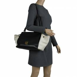 Celine Black/Beige Leather and Canvas Medium Trapeze Bag 90454