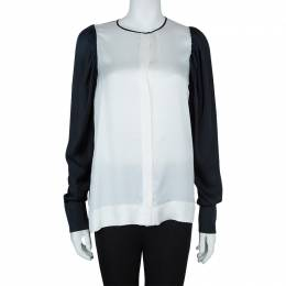 Stella McCartney Monochrome Gathered Sleeve Silk Blouse M 57910