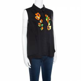 Peter Pilotto Black Embroidered Embellished Cotton Sleeveless Blouse L 165839