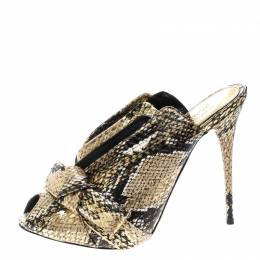 Alexander McQueen Metallic Gold Python Embossed Leather Bow Detail V Neck Peep Toe Mules Size 38.5 168324
