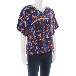 Kenzo Royal Blue Torn Flowers Printed Silk V Neck Blouse L 175037