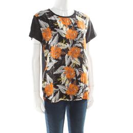 Proenza Schouler Black Slub Jersey Contrast Floral Print T-Shirt S 176710
