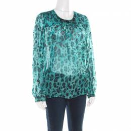 Blumarine Blue and Black Animal Printed Silk Embellished Neck Blouse M 176791