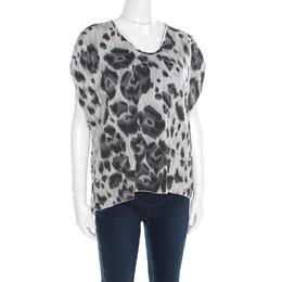 Stella McCartney Grey Peony Animal Print Silk Pleated Sleeve Boxy Blouse M 182087