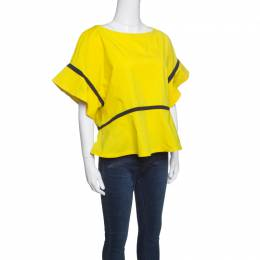 Etro Yellow Contrast Panel Detail Boat Neck Blouse L 148167