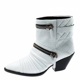 Giuseppe Zanotti Design White Quilted Leather Ankle Boots Size 38 199670