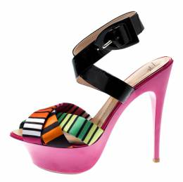 Giuseppe Zanotti Design Multicolor Satin And Patent Leather Cross Strap Platform Sandals Size 39 199818